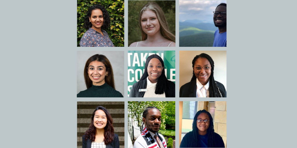 Graphic with photos of the 2020 Public Service Fellows