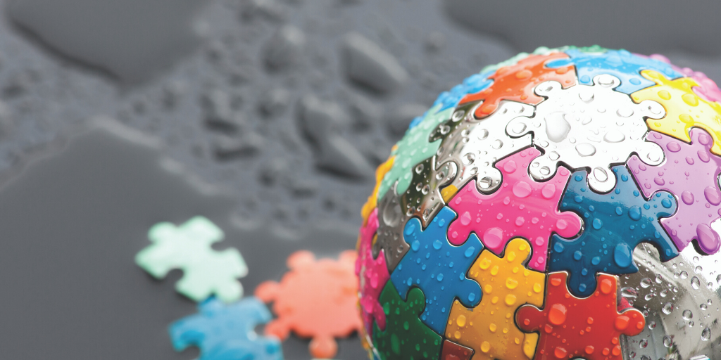 Image of globe made of puzzle pieces