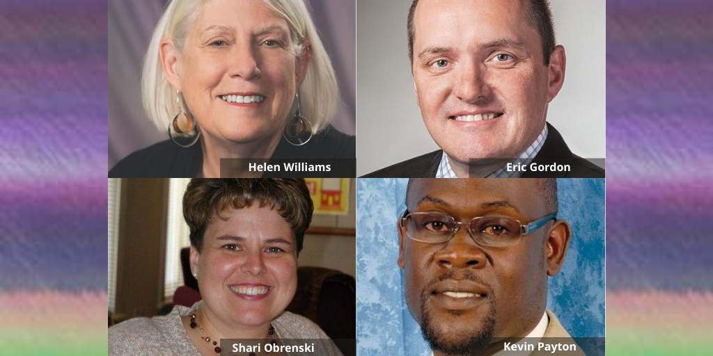 Photo collage of session speakers Helen Williams, Eric Gordon, Shari Obrenski and Kevin Payton