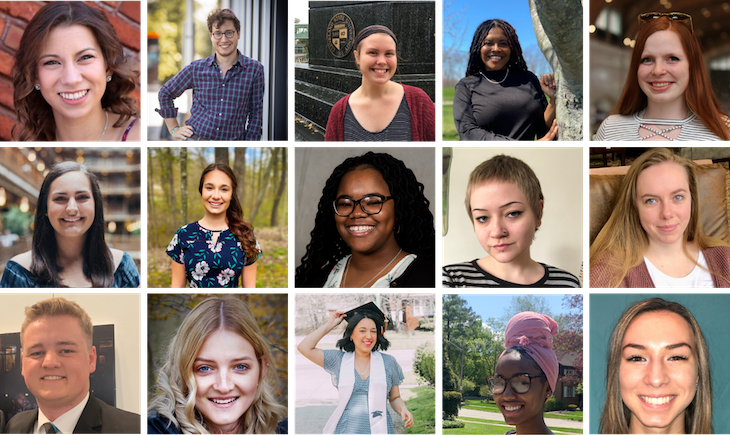 Graphic with photos of 2020 summer interns