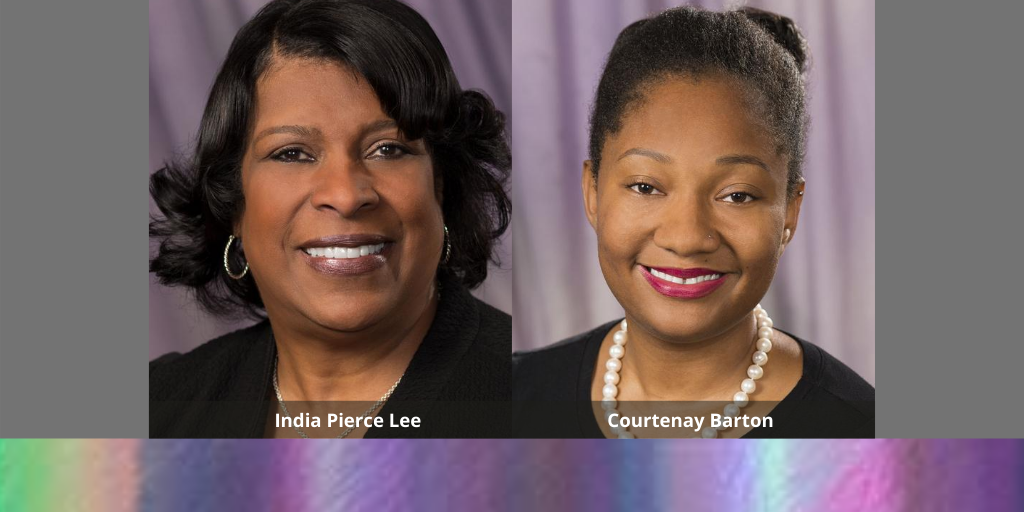 Graphic with photos of India Pierce Lee and Courtenay Barton