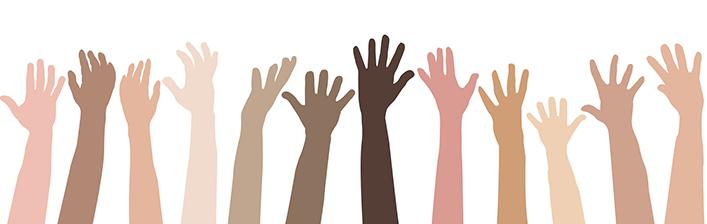 Illustration of hands raised