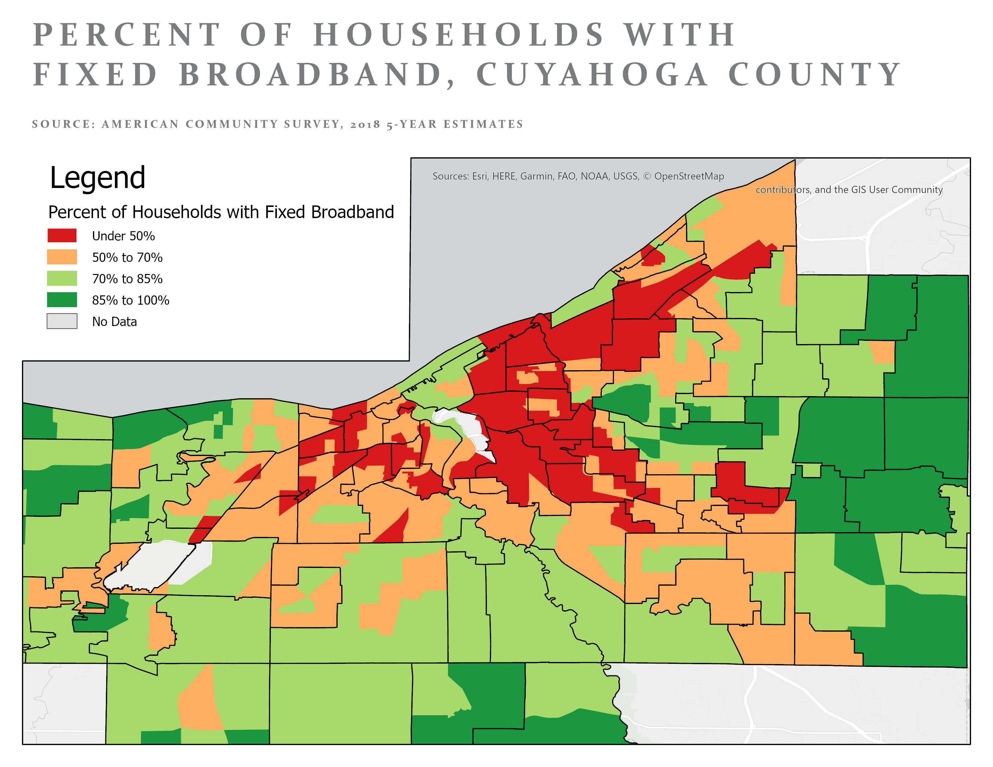 Northeast Ohio broadband access map